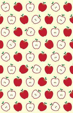 Cute Apple Picture Pattern Art Print by &joy - X-Small Gold Wallpaper, Trendy Wallpaper, Apple Wallpaper, Cute Wallpaper Backgrounds, Wallpaper Iphone Cute, Cute Cartoon Wallpapers, Pattern Art, Pattern Paper, Print Patterns