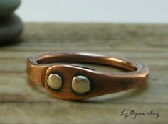 Ring, Copper Ring, Cold Connected Ring, Sterling Silver Rivet Ring, Thumb Ring ljbjewelry on etsy----love her style!!
