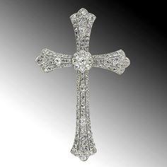 Gigantic Antique Diamond Cross Pendant