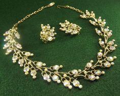 Vintage Necklace & earrings, aurora borealis rhinestones, excellent condition,NR #necklaceearringsset