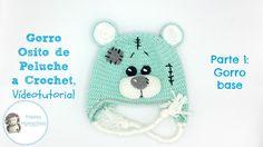 Gorro osito a crochet,  Parte 1: gorro base Crochet Beanie Hat, Crochet Baby Hats, Crochet For Kids, Beanie Hats, Baby Knitting, Knitted Hats, Knit Crochet, Knitting Videos, Crochet Videos