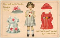 Free Printable Vintage Valentine Paper Doll Postcard ........ by ALTERED ARTIFACTS