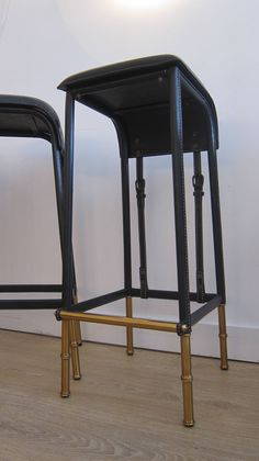 Pair of Black Stitched Leather Bar Stools by Jacques Adnet. 2