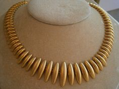 Fabulous vintage Anne Klein Matte Gold Necklace from the mint condition with no wear at all; necklace measures 18 inches including the extender; Spike Necklace, Gold Necklace, Matte Gold, Anne Klein, Jewelry Accessories, Jewellery, Chic, Vintage, Etsy