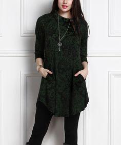 R&B Green Floral Shawl-Collar Pocket Tunic Dress - Plus Too by R&B #zulily #zulilyfinds