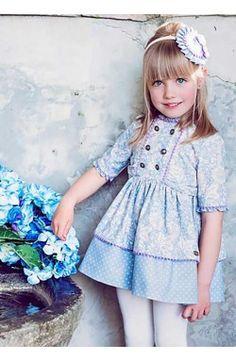 Vestido chica Dolce Petit manga tres cuartos azul