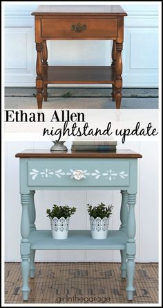 Ethan Allen nightstand makeover to charming stenciled table. DIY furniture makeover tutorial by Girl in the Garage. Formal Ethan Allen nightstand makeover to charming stenciled table with Chalk Paint. DIY furniture makeover tutorial by Girl in the Garage. Diy Garden Furniture, Diy Furniture Easy, Paint Furniture, Repurposed Furniture, Furniture Projects, Furniture Design, Modern Furniture, Garage Furniture, Rustic Furniture