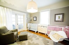 Neutral nursery for boy and girl twin.