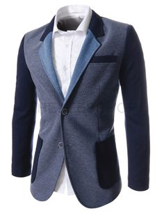 (NIFJ1048-LIGHTNAVYNAVY) Slim Fit Notched Lapel 2 Tone Single Breasted 2 Button Blazer