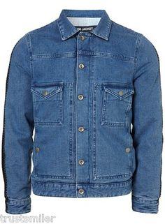 TOPMAN Mens Shaun Samson Mid Wash Denim Jacket