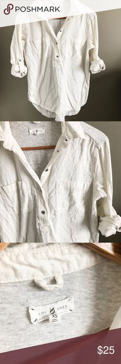 Lou & Grey Mixed Media Popover One of my favorite tops! Relaxed fit popover shirt from Lou & Grey. Super comfy. Soft white cotton shirt in the front, grey t-shirt material in the back. So cute with leggings. Size XS. Pre-loved but still tons of life left! Lou & Grey Tops Button Down Shirts