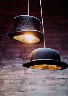 Melonen udn Zylinder als Lampe! Lässig! #interior #art #style #fashion