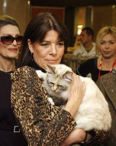 #CelebCats#FamousCats|#Princess Caroline de Monaco and cat