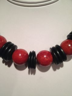 Chunky red balls and black discs create a statement by Bedotted, $32.50