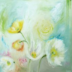 Original Flowers Oil Painting Dazed 20 x 20 by Katie Jobling  I seriously have a love for these colours. They are the sweet, sticky vibe of Summer and…