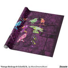 #VintageBirdcage & #ColorfulBirds #WrappingPaper by #MoonDreamsMusic #ShabbyChic #Pretty&Elegant