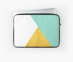 'Gold & mint geometry' Laptop Sleeve by artbyjwp by society6 #laptopbag #laptopsleeve #laptopaccessories #artprints #buyart #minimal #modern #abstract #geometric #goldandmint
