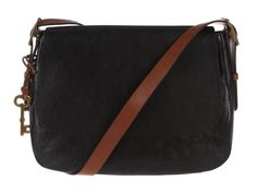 Fossil 'Harper' Saddle Black Leather Cross-Body Bag | Pure Luxuries