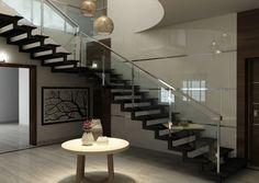 Já que estamos falando de pequenos detalhes, vale a pena conferir que os espaços vazados embaixo dos degraus dessa escada, são ótimos para dar um efeito incrível na decoração.    Credits: homify / M/s Studio7 Architects