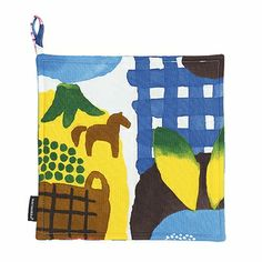 Meaning Summer Market in Finnish, Kesätori features all our favorite things from fruits and vegetables to coffee and ice cream; even frolicking horses and butterflies find a spot on this lighthearted design by Aino-Maija Metsola. Marimekko Kesätori Multicolor Pot Holder - $14