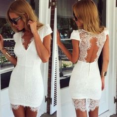Sexy V-neck short sleeve lace dress SC33101RE