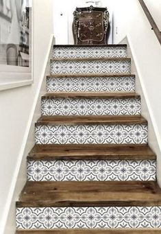- Stairway Designs & Ideas - Stair Riser Vinyl Strips 15 steps Removable Sticker Peel & Stick : MarrakechGrey Decorative stair-riser is hot in the last home decor scene, we have it easy for you to lift your staircase in just a peel away. Tile Stairs, Basement Stairs, Open Basement, Basement Ideas, Stairs Tiles Design, Easy Home Decor, Basement Remodeling, Home Projects, Home Improvement