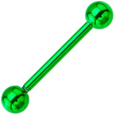 Green Electro Titanium Barbell Tongue Ring | Body Candy Body Jewelry #bodycandy