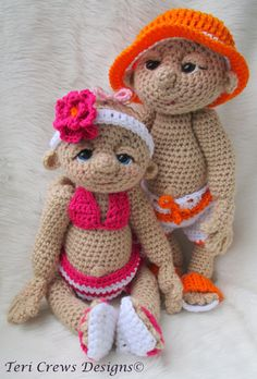 Crochet Pattern Beach Wear Doll Clothes Set for So Cute Baby by Teri Crews Wool…