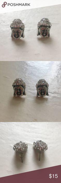 Silver Buddha Gem Engraved Earrings Silver Stud Buddha earrings with Gem encrusted top LF Jewelry Earrings