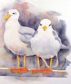 Seagull Painting Original Watercolor Painting of by LaBerge