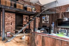 """This beautiful duplex loft with industrial interior design is decorated by Anna Pliss in Moscow, Russia. Loft is located in the former textile factory called """"Danilovskaya manufacture"""" and it is really an unique place to live in. Loft Interior Design, Industrial Interior Design, Industrial Interiors, Loft Design, Deco Design, Küchen Design, Interior Architecture, Interior And Exterior, House Design"""