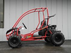The American Sportworks 5210 Marauder off-road go kart features a powerful 208cc 4-stroke engine, dual wheel drive, automatic CVT transmission, hydraulic disc brake, full suspension, 1.125-inch brush bars, and 3-point shoulder/lap belts.