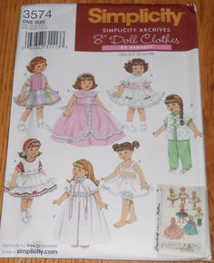 "Vintage Simplicity Baby Doll Clothes Sewing Pattern 3574 8"" Archives #Simplicity"