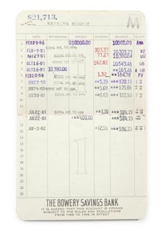 """A Bowery Savings Bank book having Marilyn Monroe's deposits and withdrawals from February 29, 1956, to January 3, 1962. Also present is the original slipcase.  4 1/2 by 3 3/4 inches  """"Property from the Estate of Marilyn Monroe,"""" Julien's Auctions, Los Angeles, June 4, 2005."""