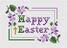 Happy Easter free cross stitch pattern