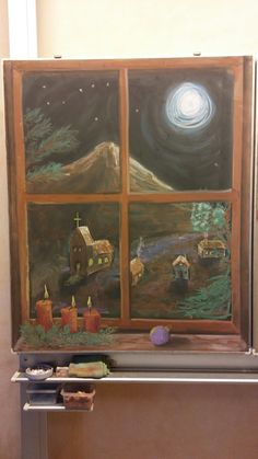 Chalkboard Drawing / Tafelbilder / Christmas Time / Adventszeit / Waldorf / by Velly Blackboard Drawing, Chalkboard Drawings, Chalk Drawings, Chalkboard Art, Drawing School, Class Pictures, Faux Stained Glass, Rustic Art, Moon Art