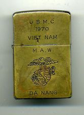 Zippo Lighter Vietnam 1970 USMC Marines Aircraft  Marble Mountain TWA Airlines