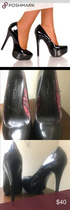 Black patent leather sky high stilettos size 8 These high heels are ‼️ they have been worn enough to be broken in for you! They are so comfortable, you will love being about 6 inches taller! They are high quality, made by The Highest Heel The Highest Heel Shoes Platforms