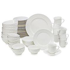 image of Gibson Home Antique Quilt 48-Piece Dinnerware Set