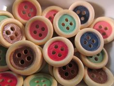 20 Color Wood Rim Buttons 15mm Mixed Color Sewing by WNBrunk