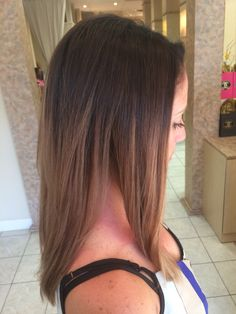 Color melt sombre dark brown brunette to caramel blonde with balayage on medium length hair