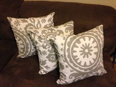 Cushions made for a client. Twill Suzani Storm Grey from www.fabric.com