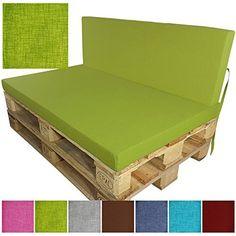 proheim Palettenkissen Lounge - 2 kurze Rückenkissen 60 x 40 cm in Schwarz Paletten-Auflage Polster für Europaletten - weitere Varianten und Farben wählbar