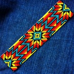 New extra wide cuff for the Pueblo & Company Etsy shop! Measures 6 long by 1 Beading Patterns Free, Seed Bead Patterns, Beading Ideas, Beading Supplies, Bead Loom Bracelets, Beaded Bracelet Patterns, Jewelry Patterns, Native Beadwork, Native American Beadwork