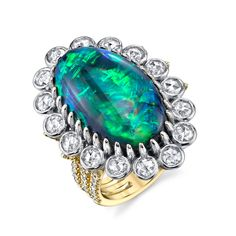 Opal Rose Cut Diamond Gold Cocktail Ring 3