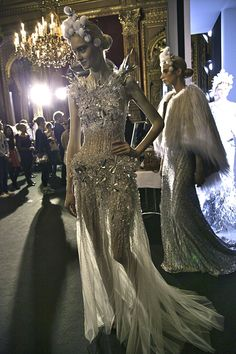 Valentin Yudashkin, model, runway, couture, haute couture, fashion, high fashion, fashion week, Paris Fashion Week, backstage, sequins, crystals, gemstones, beading, ice, icicles, jewels, ball gown, queen, vintage, princess, fairy tale, chandeliers, Fall 2013,