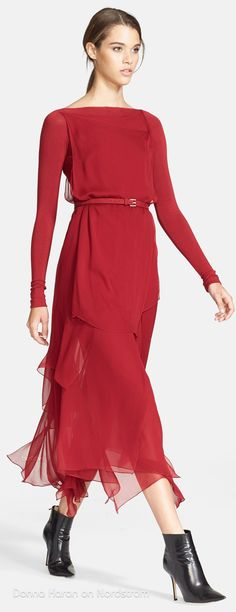 Donna Karan (FW14) Collection Layered Silk Chiffon Midi Dress