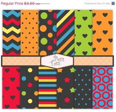 ON SALE brights digital paper, Digital paper pack -color No.21, digital scrapbook paper, blue black red, chevron patterns,polka dots