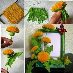 How to DIY Crochet Yarn Dandelion Bouquet | www.FabArtDIY.com