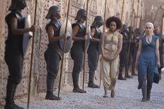 'Game Of Thrones' Season 3, Episode 3 Nathalie Emmanuel as Missandei, Emilia Clarke as Daenerys Targaryen